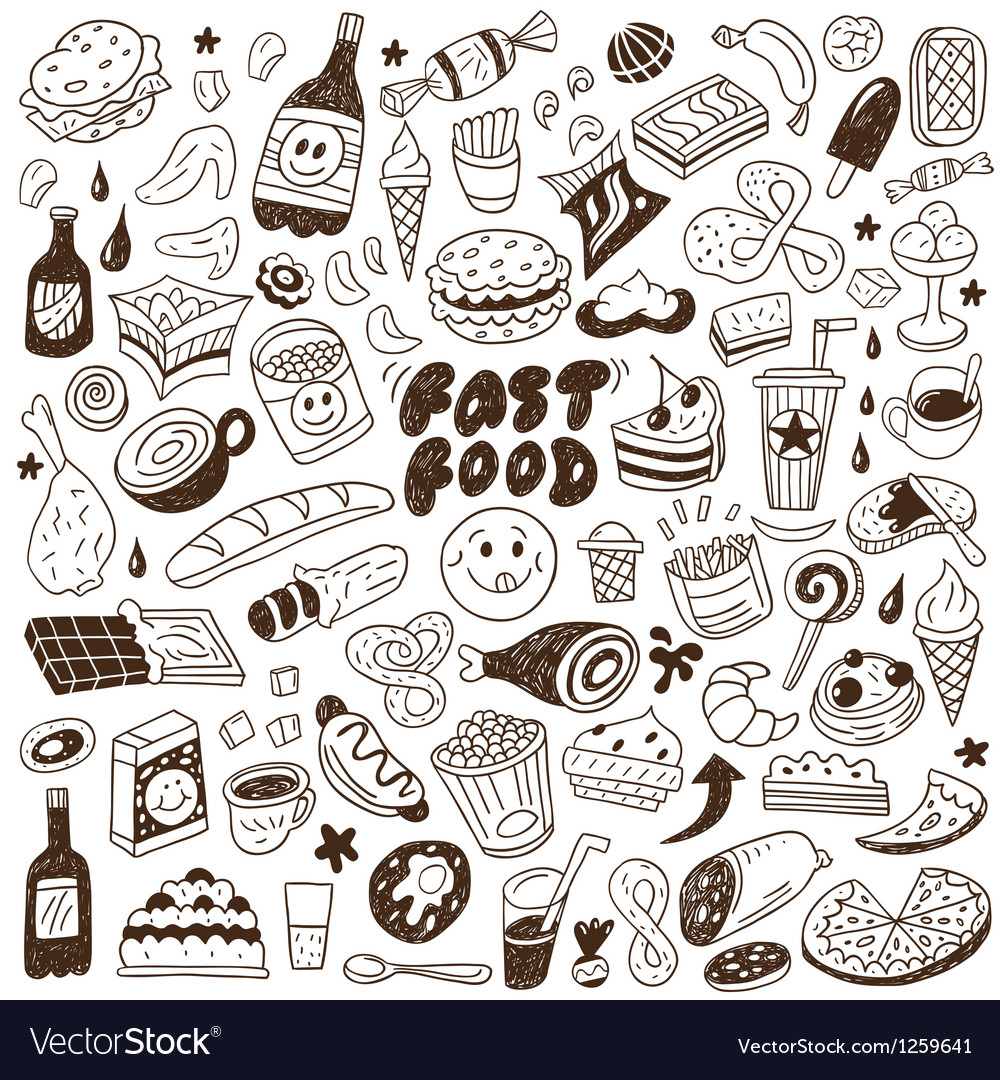Fast food  doodles set vector