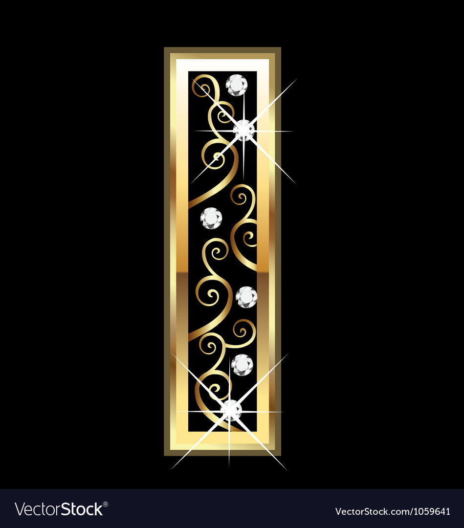 I gold letter with swirly ornaments vector