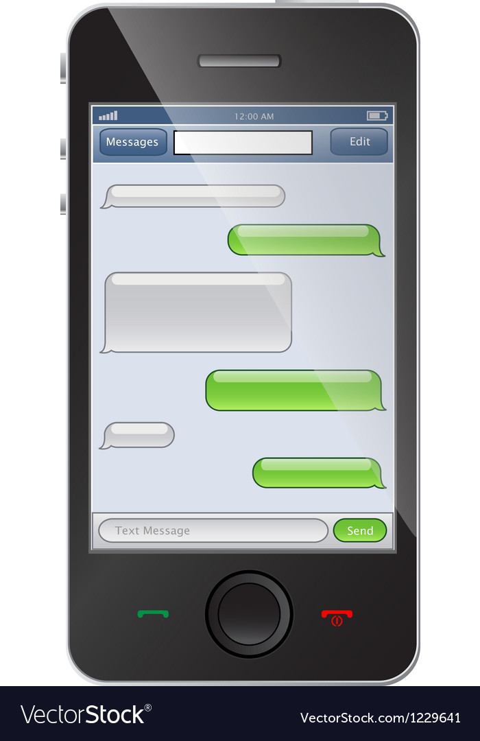 Phone with chat template vector
