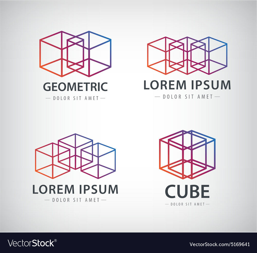 Set of cube construction logos icons vector