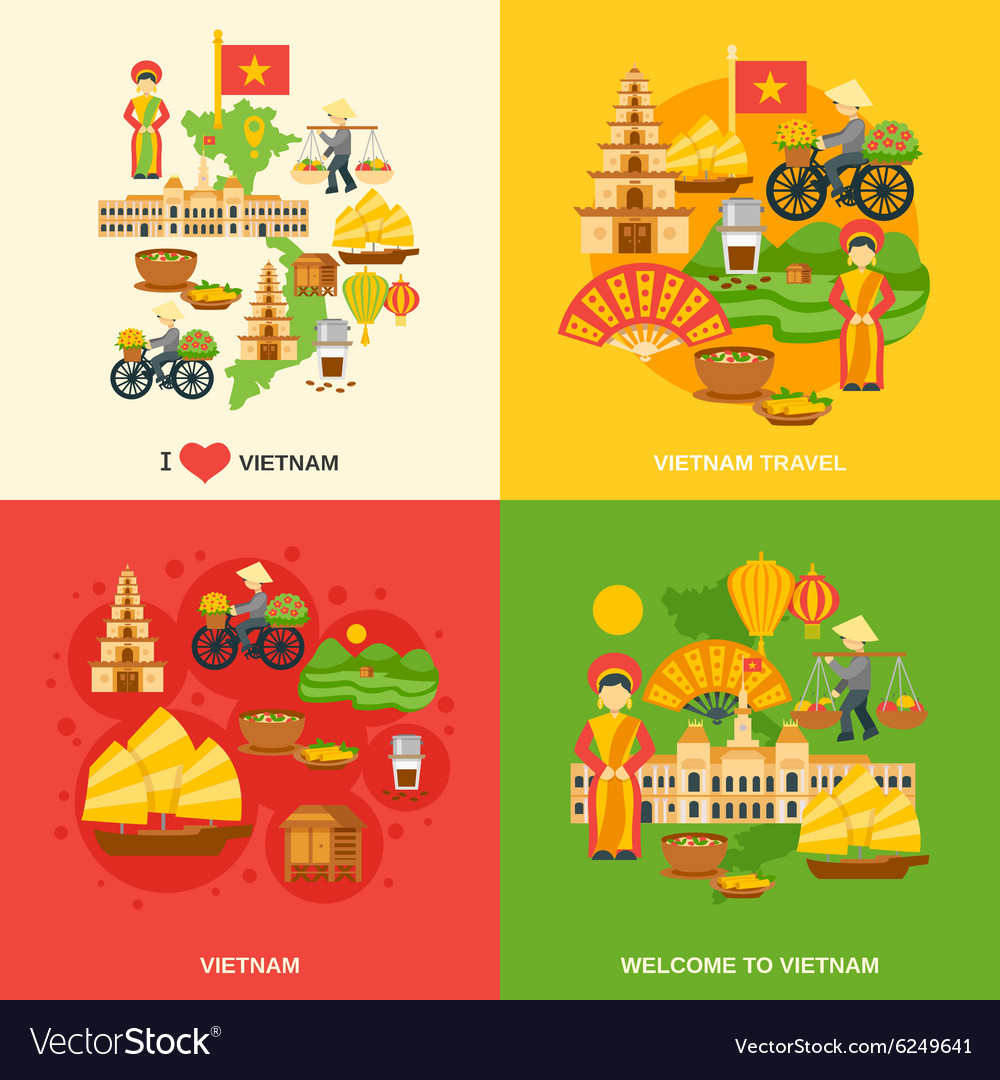 Vietnam flat set vector