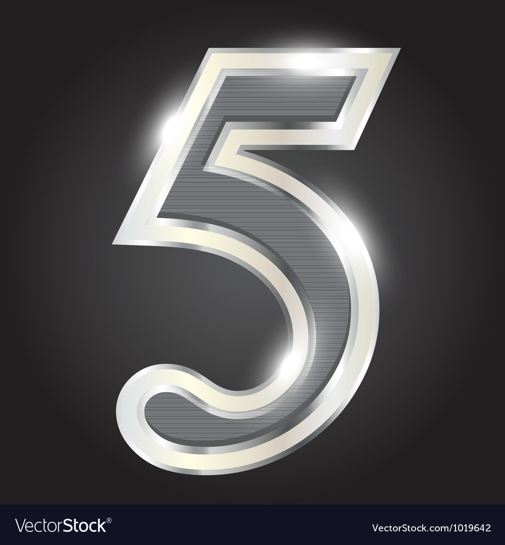 Silver metallic number vector