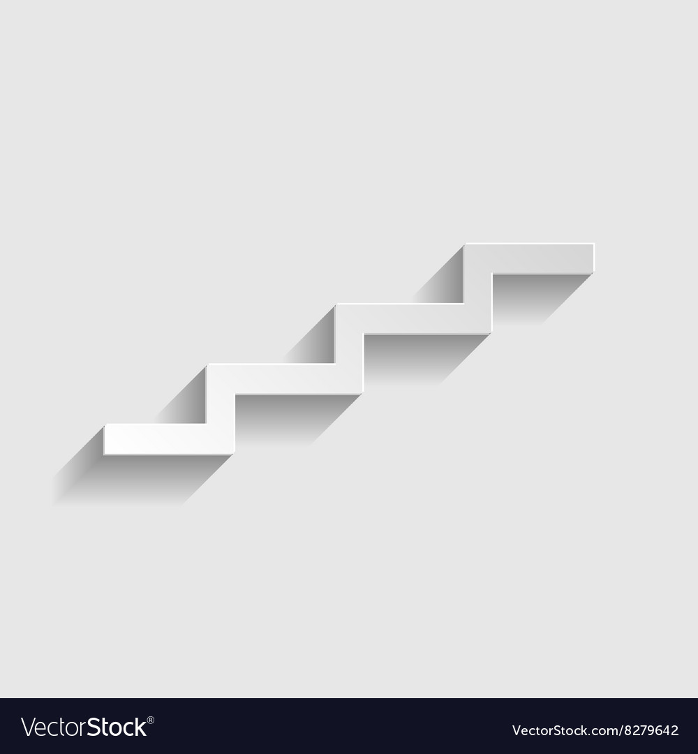 Stair up sign paper style icon vector