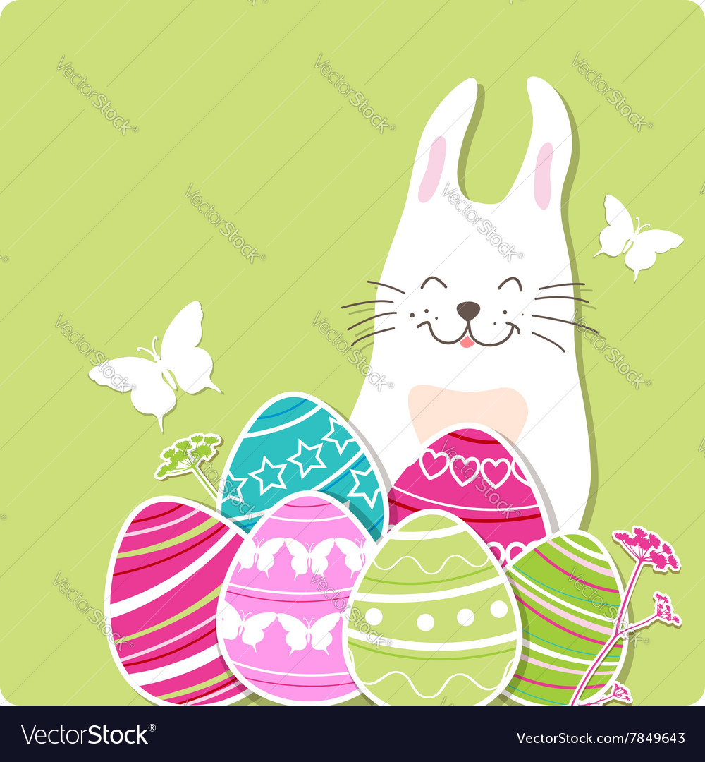 Decorative easter card with rabbit and eggs vector