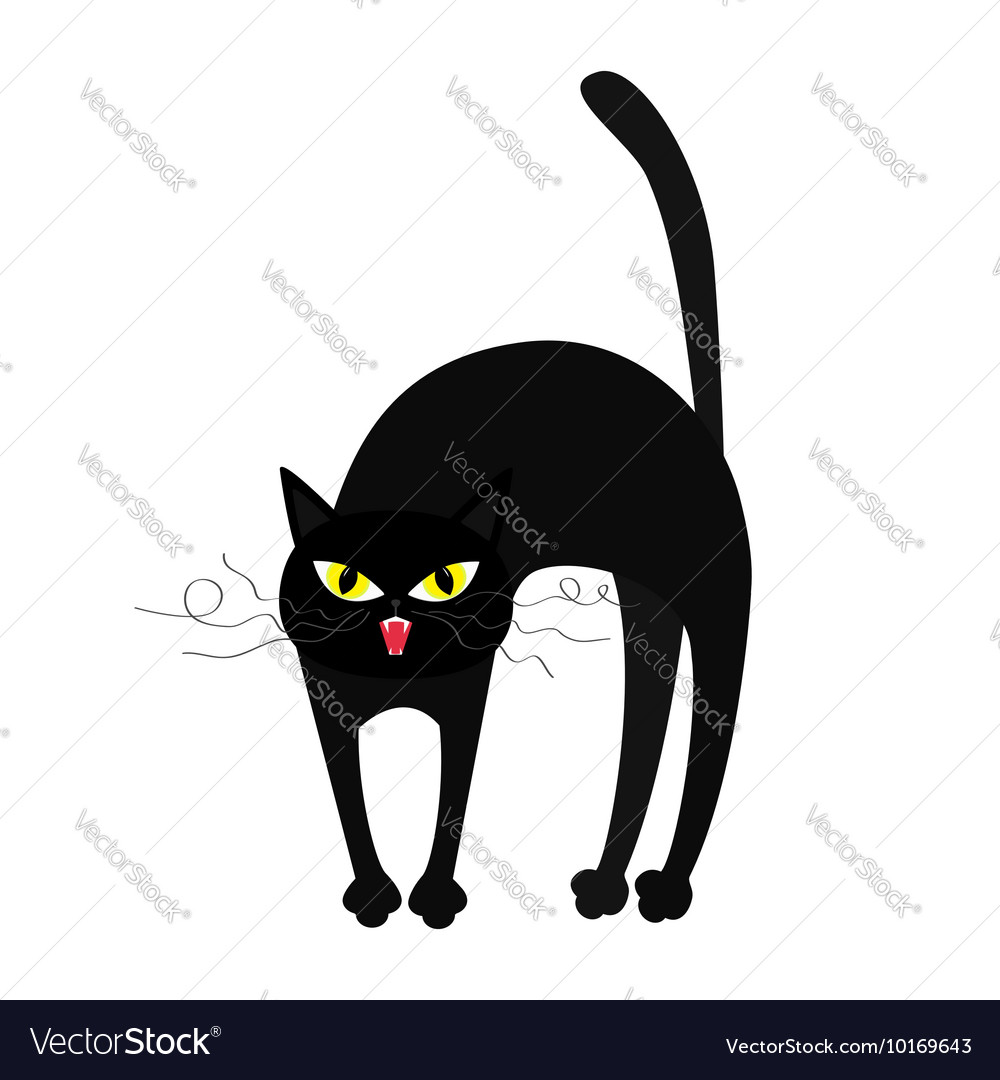 Frightened cat arch back yellow eyes fangs curl vector