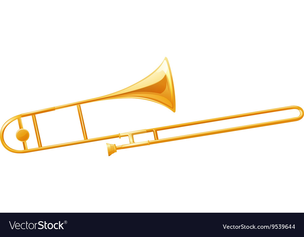 Golden trumbone on white background vector