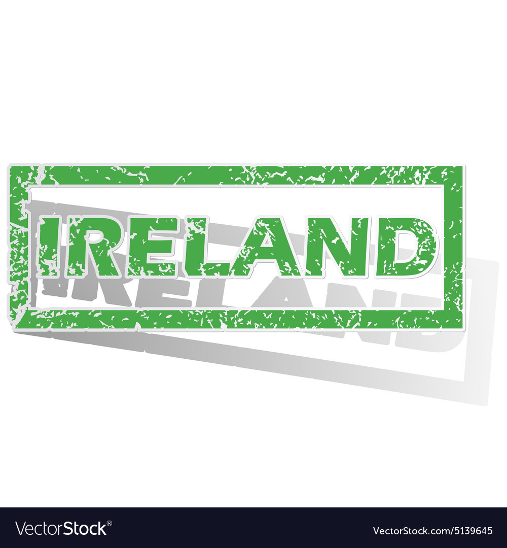 Green outlined ireland stamp vector