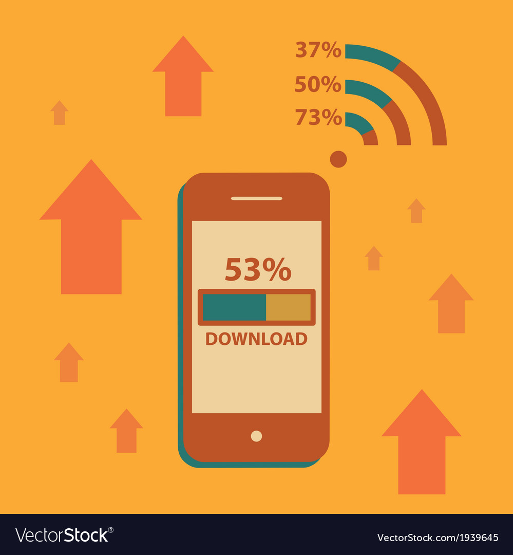 Mobile phone downloading on wifi vector