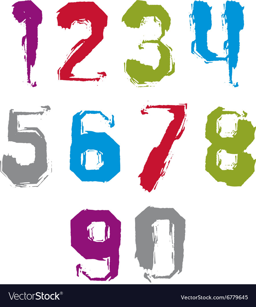 Modern watercolor brushed numbers set handdrawn vector