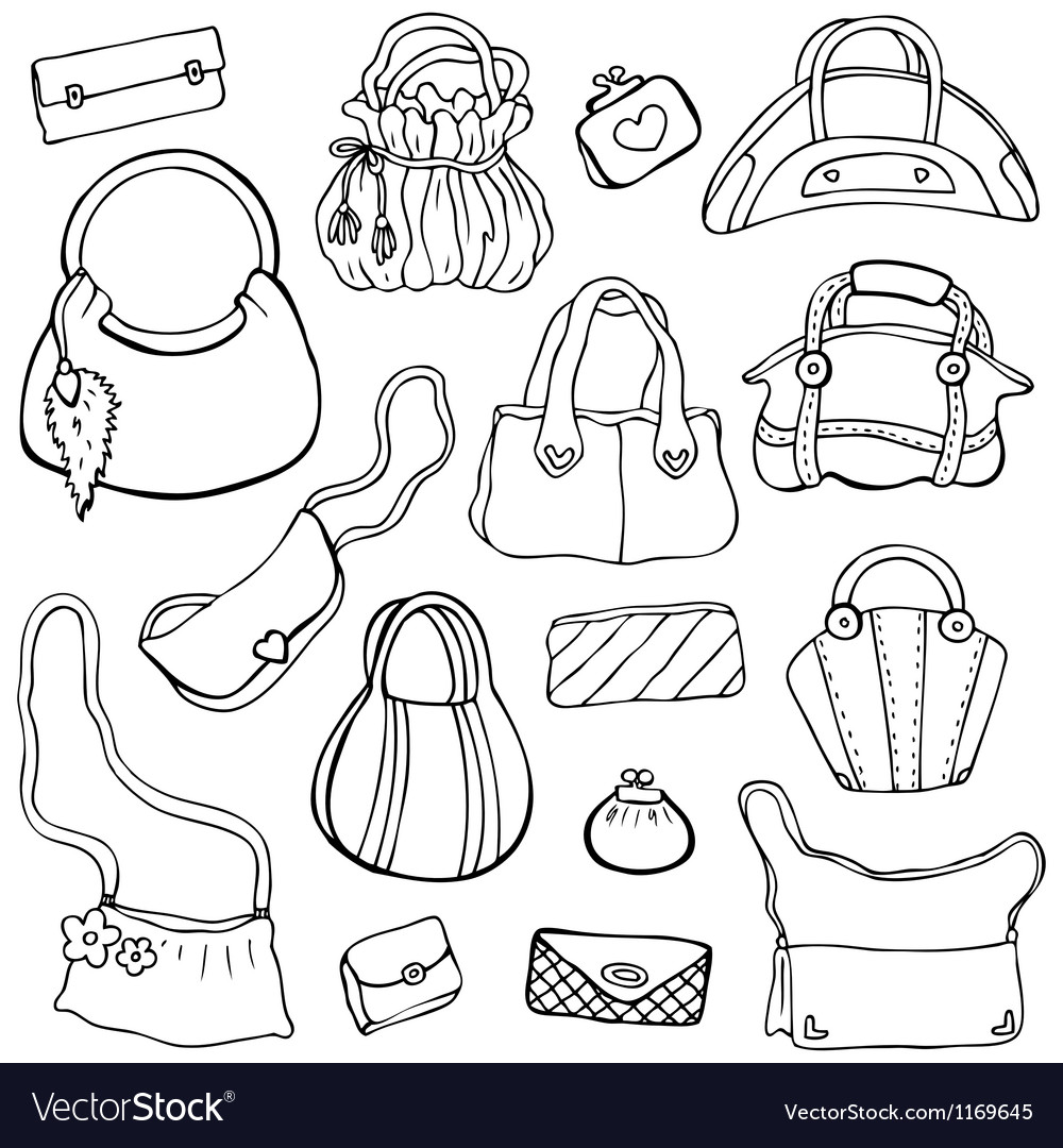 Womens handbags hand drawn set 3 vector
