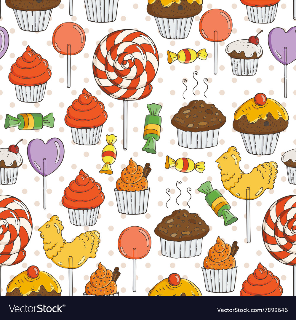 Candy and muffins seamless pattern vector