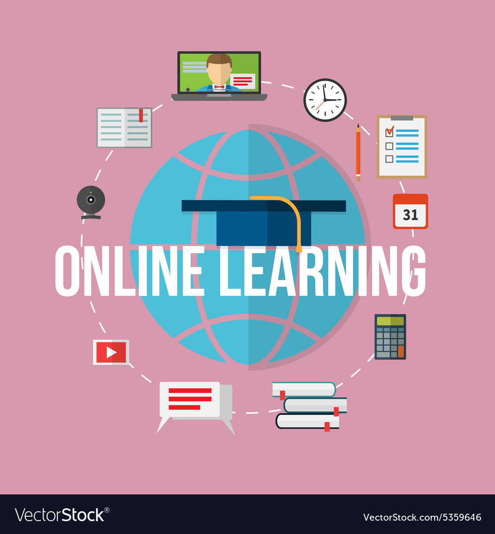 Concept for distance education online learning vector