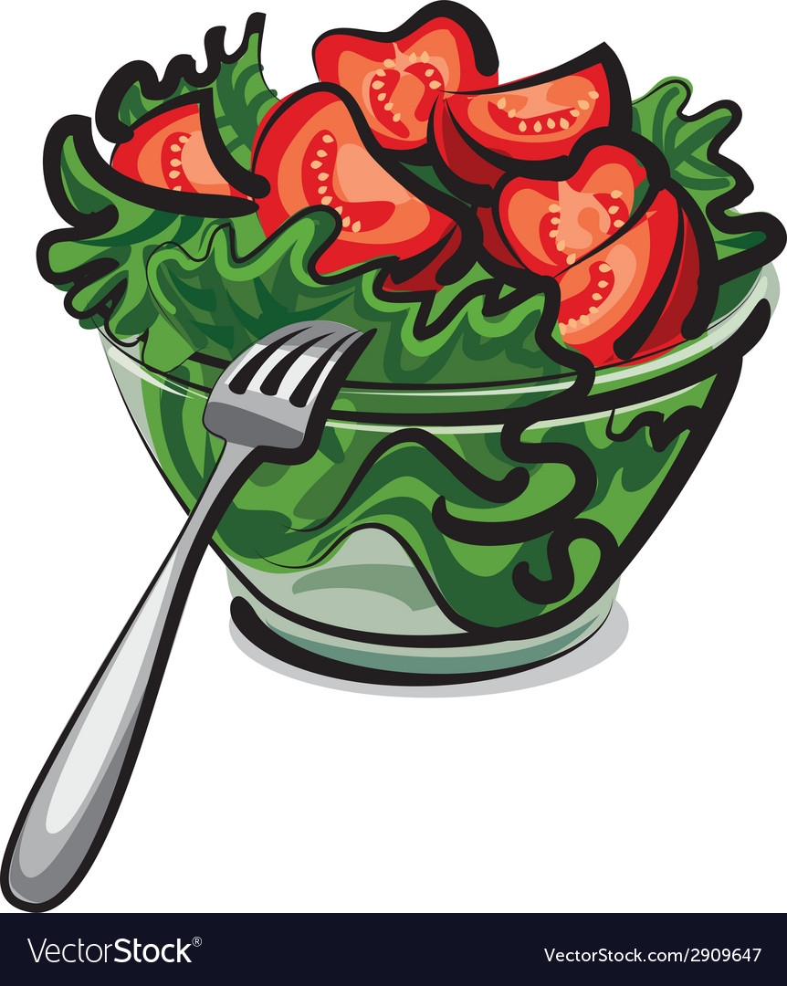 Fresh vegetables salad vector