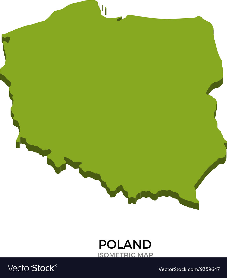 Isometric map of poland detailed vector