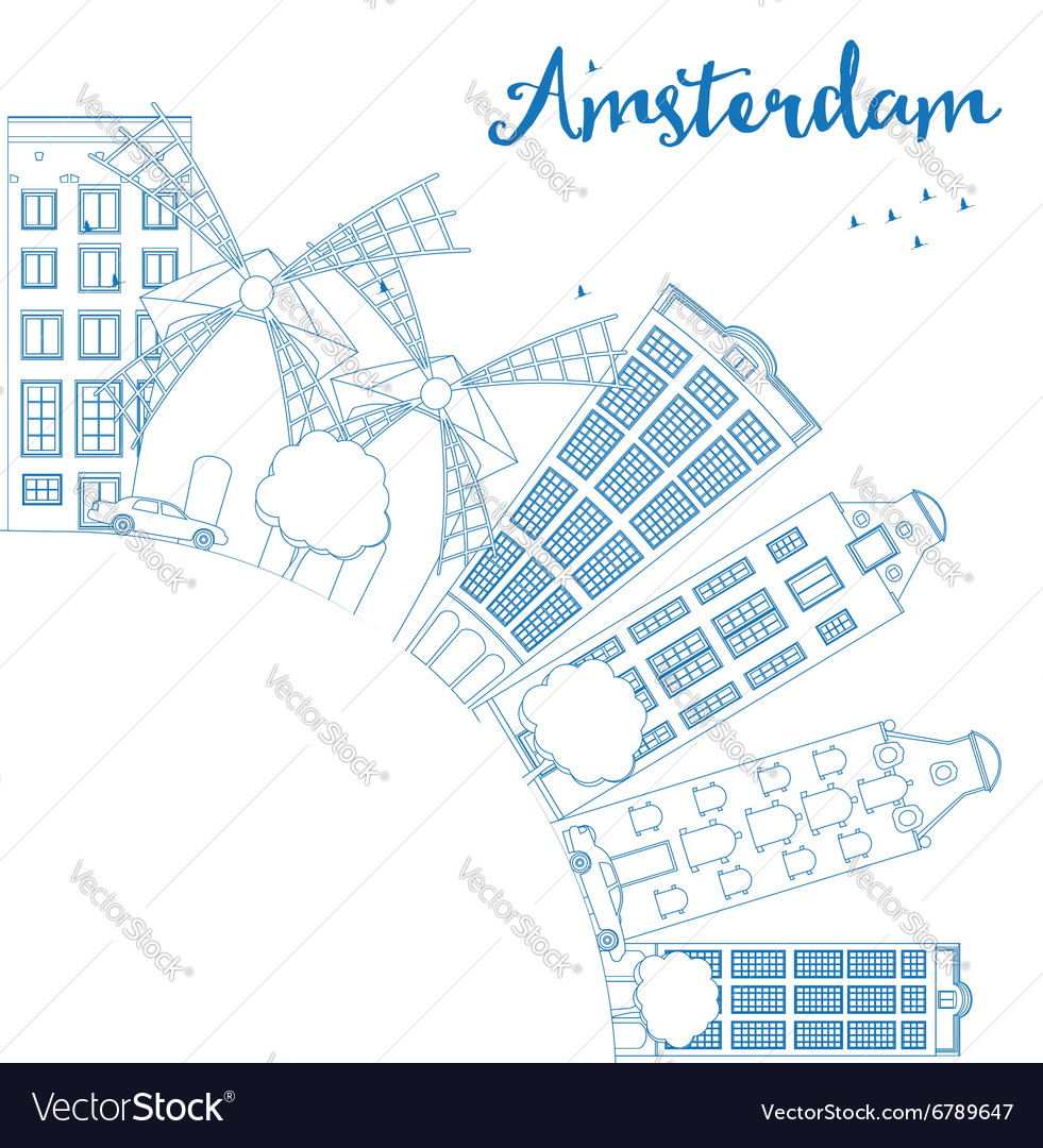 Outline amsterdam city skyline with blue buildings vector