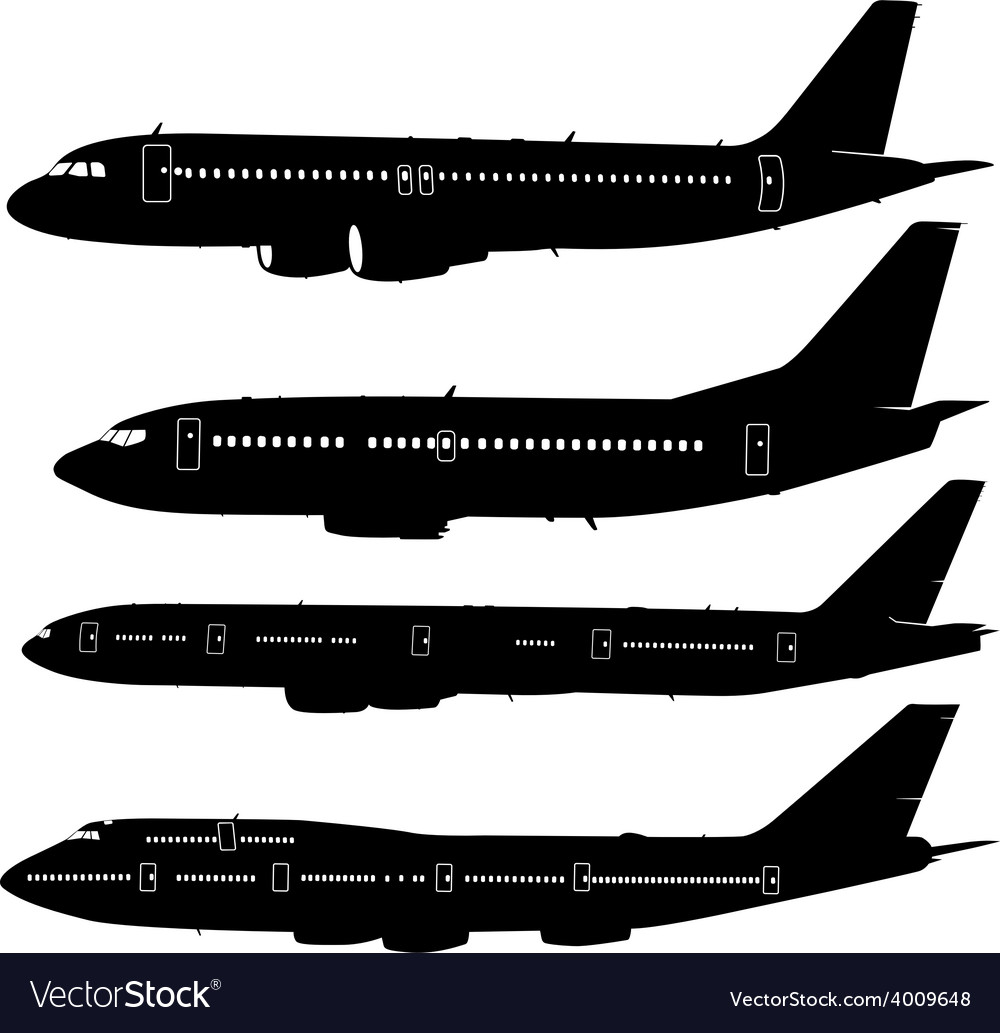Collection of different aircraft silhouettes vector