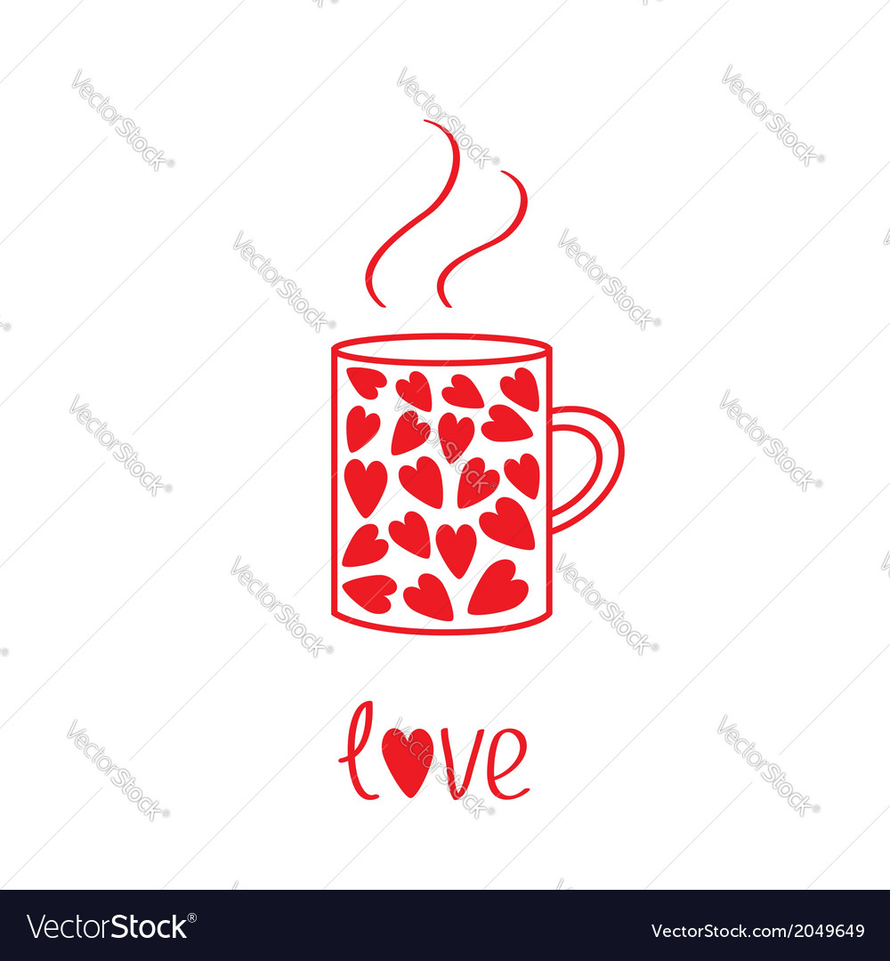 Mug with hearts and steam love card vector