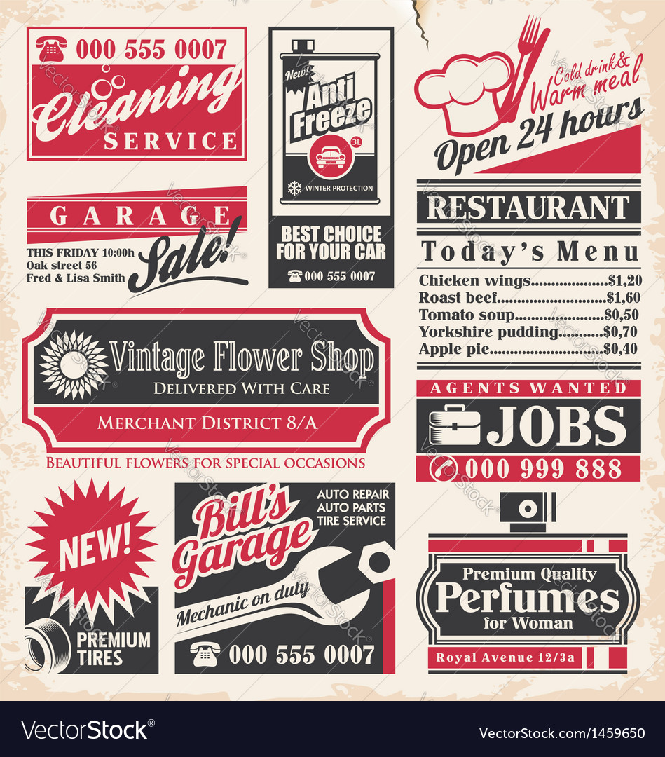 Retro newspaper ads design template vector