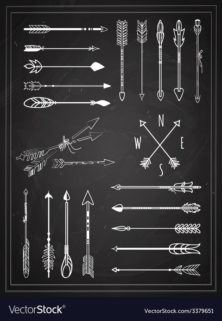 Hand drawn arrows on chalkboard design vector