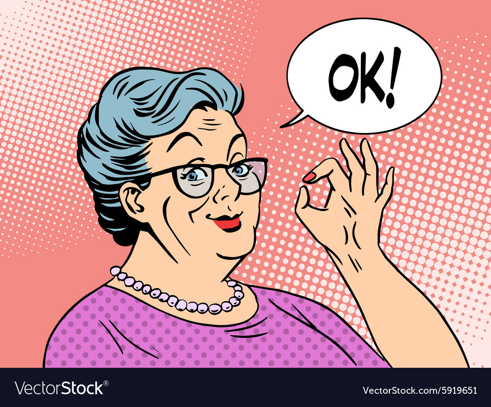 Old woman grandma okay gesture vector