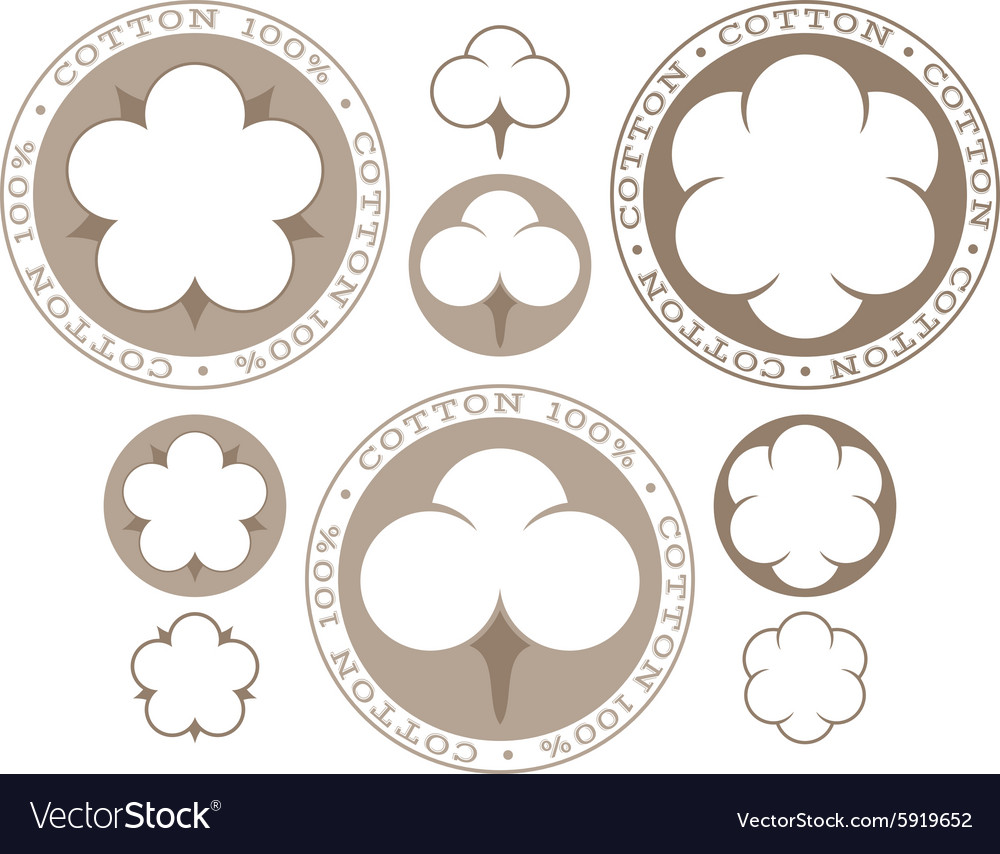 Cotton isolated labels and icons on white vector