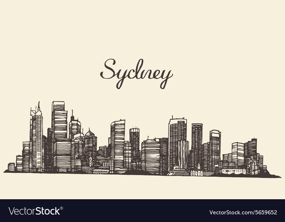 Sydney skyline engraved hand drawn sketch vector