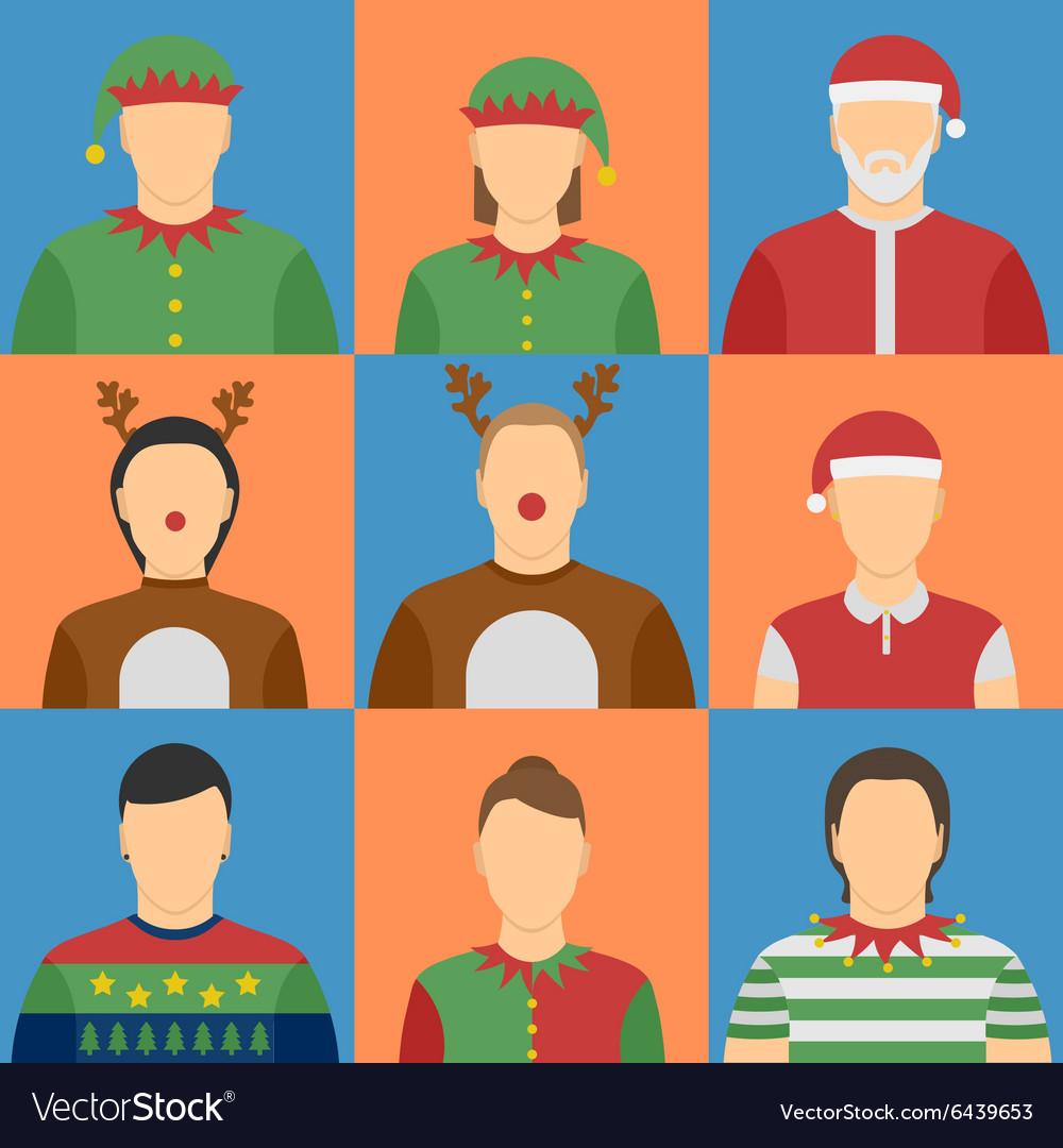 Christmas avatars set vector