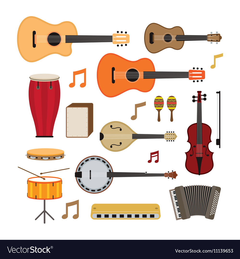 Music instruments acoustic objects set vector