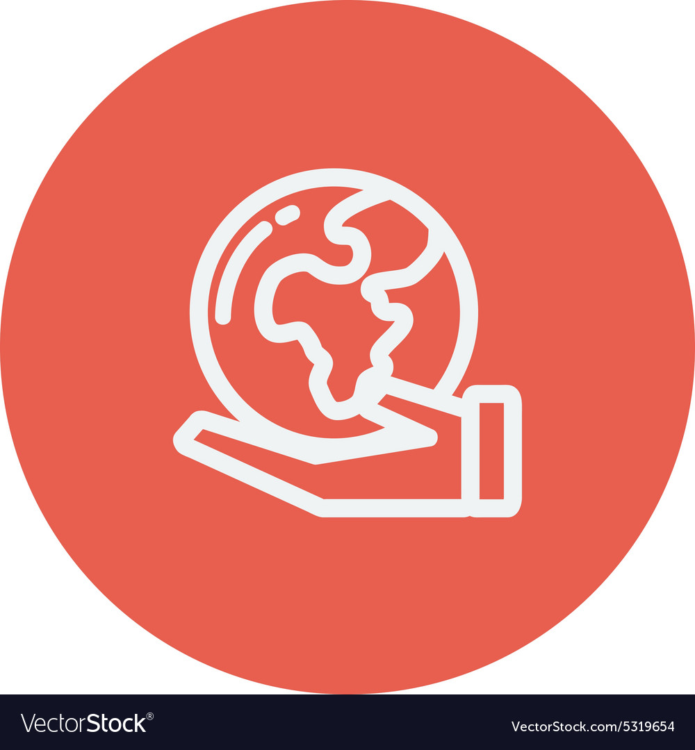 Hand holding earth thin line icon vector