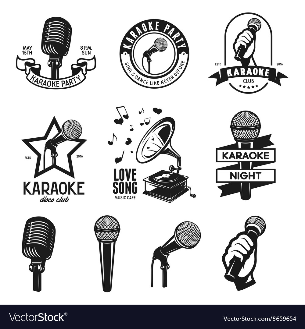 Set of karaoke related vintage labels badges and vector
