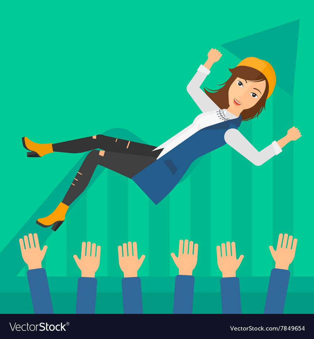 Successful business woman during celebration vector