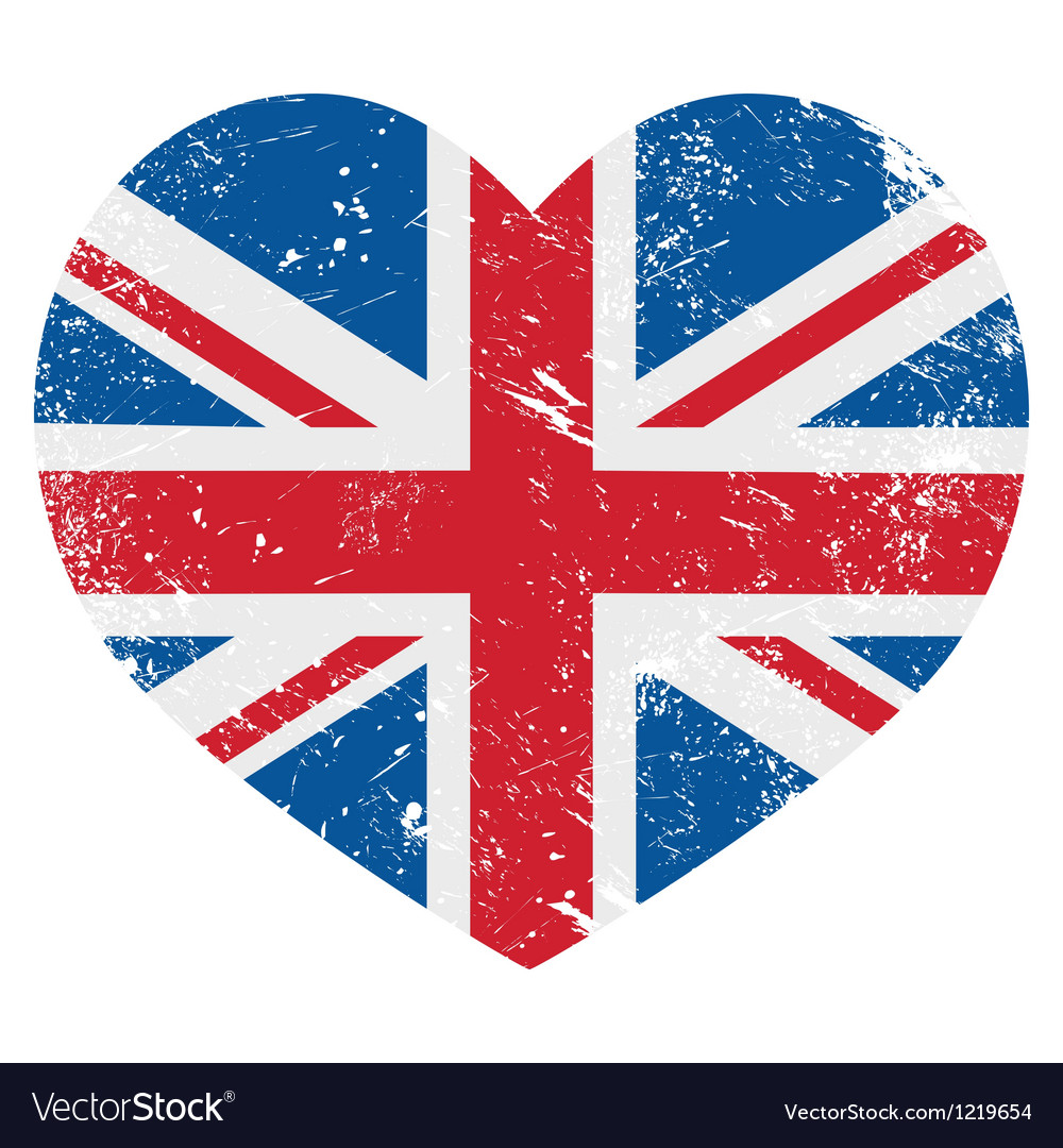 Uk great britain retro heart flag  vector