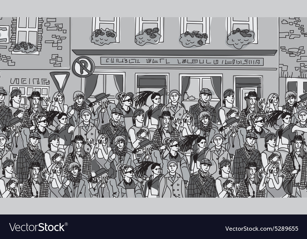 Crowd happy people on the street monochrome vector