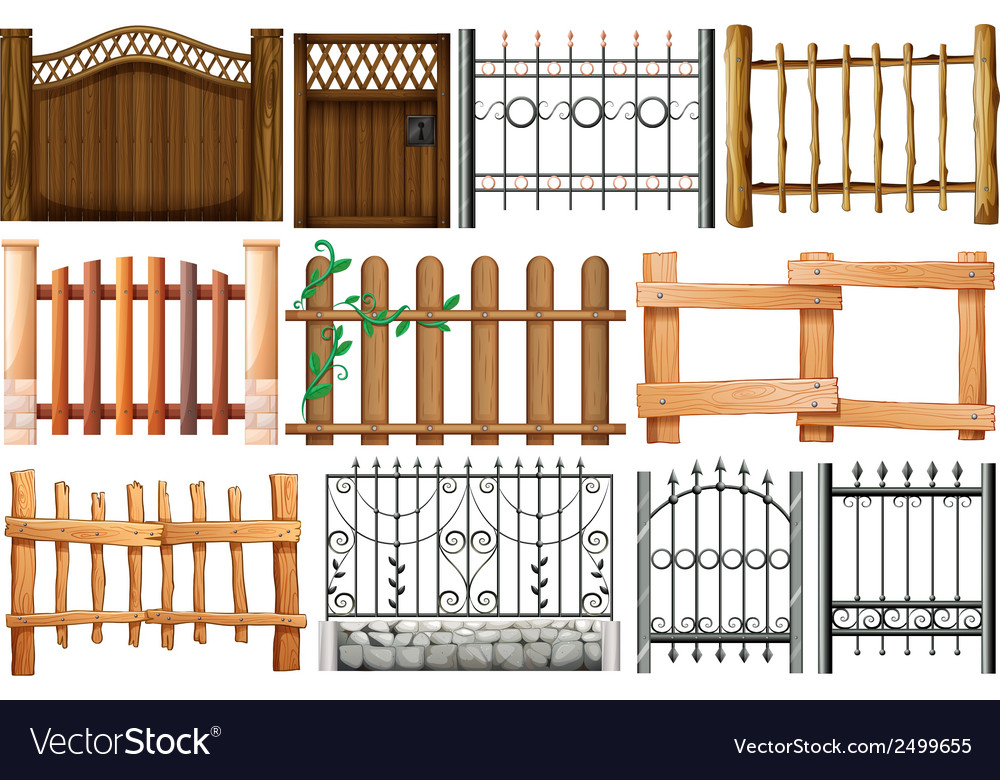 Different designs of fences and gates vector
