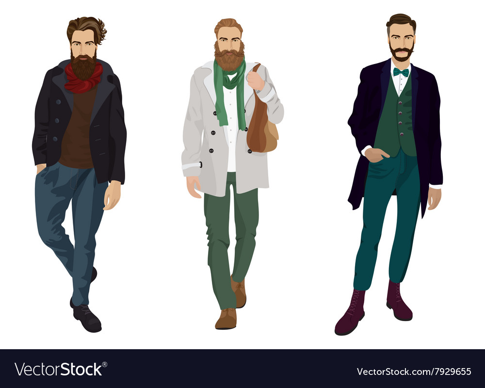 Handsome young guys with hipster beards in fashion vector
