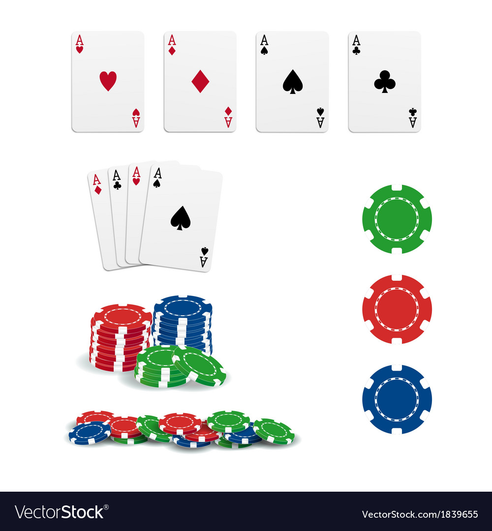 Poker cards and chips vector