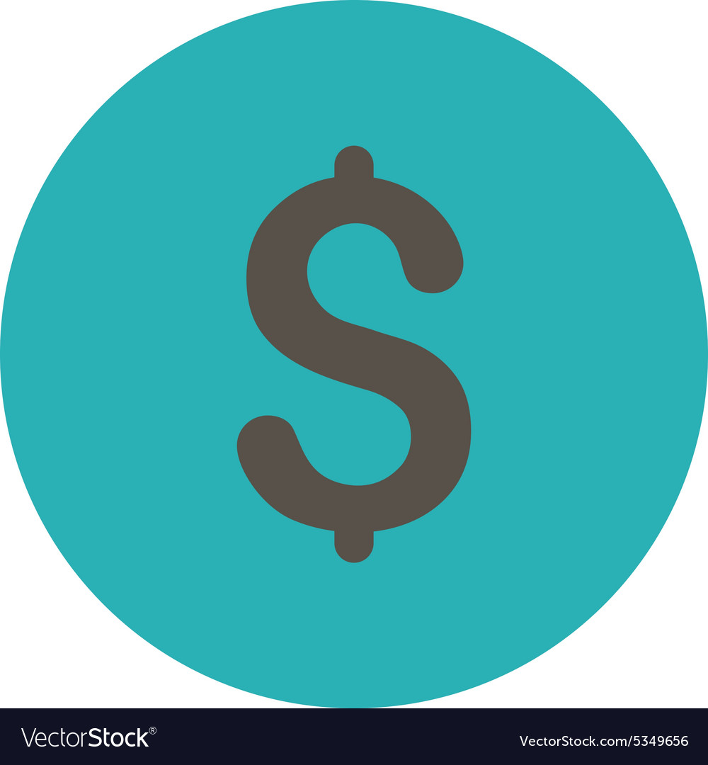 Dollar flat grey and cyan colors round button vector
