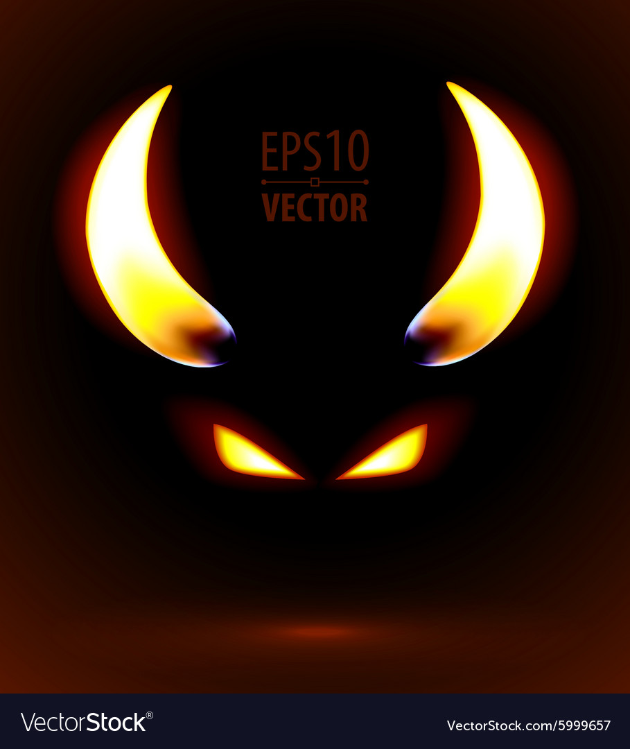 Fire silhouette of the satan vector