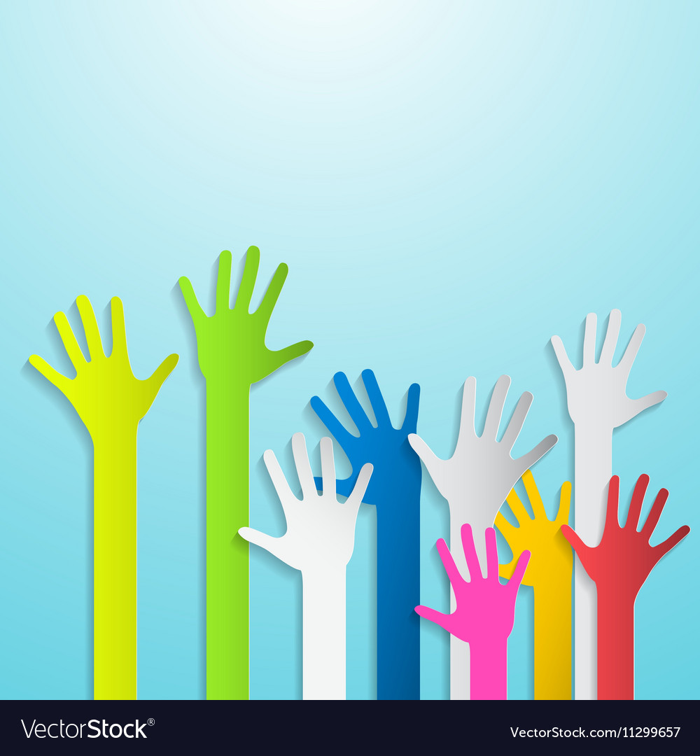 Paper cut colorful hands on blue background vector