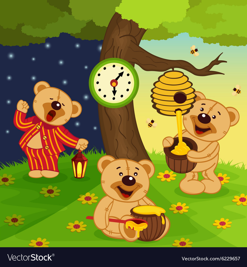 Teddy bears daily routine vector