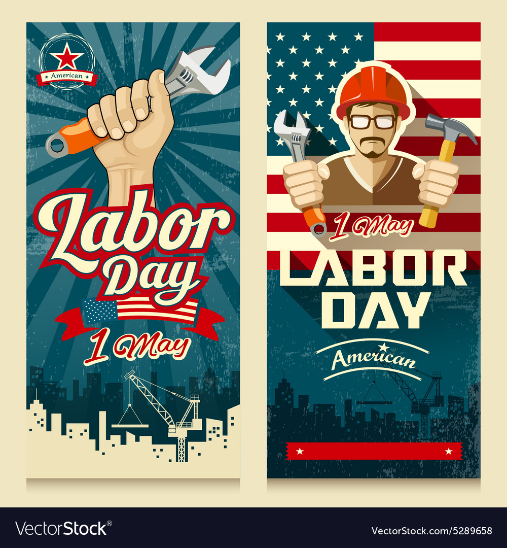 Happy labor day american banner collections vector