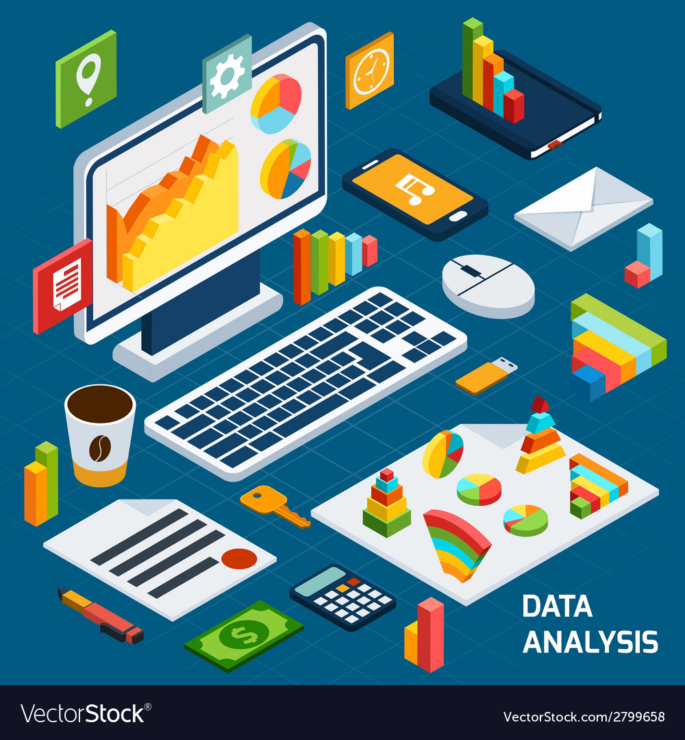Isometric data analysis set vector