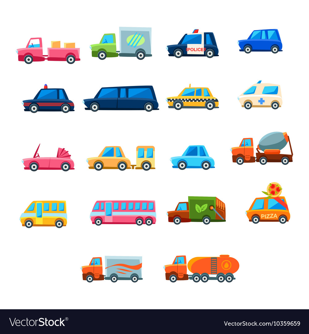 Cute toy car set of icons vector