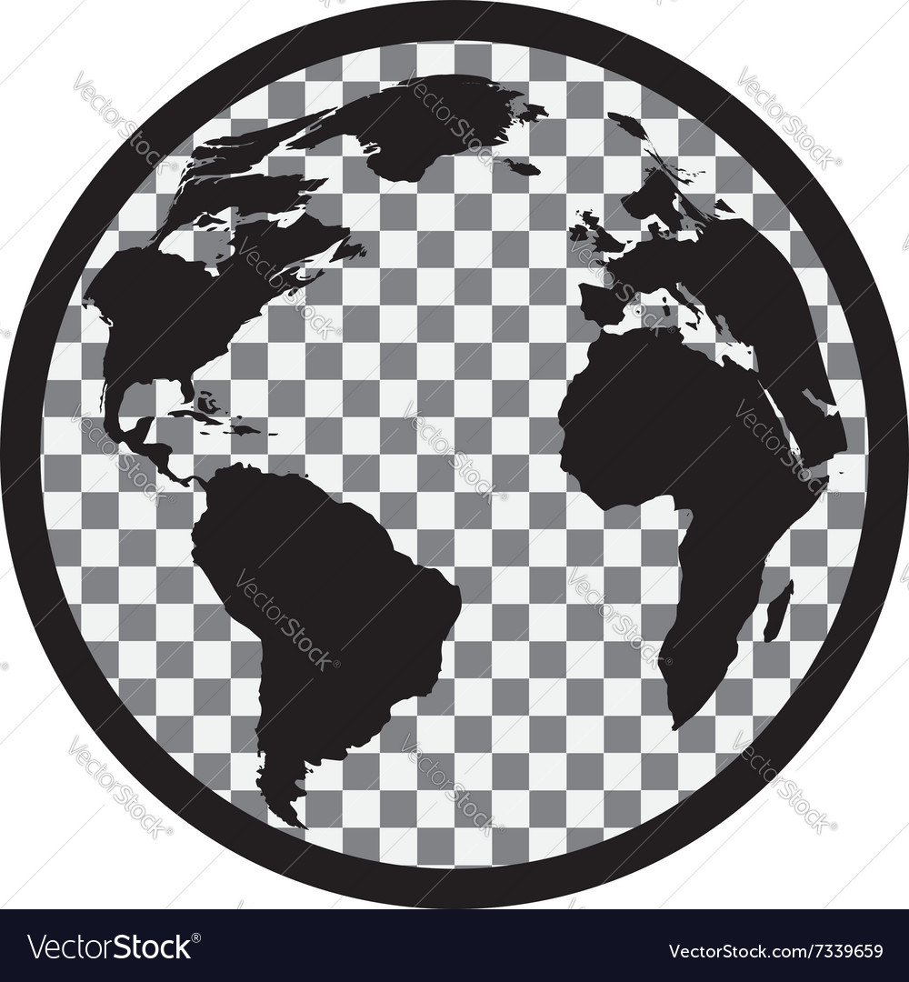 Icon of black and white globe vector