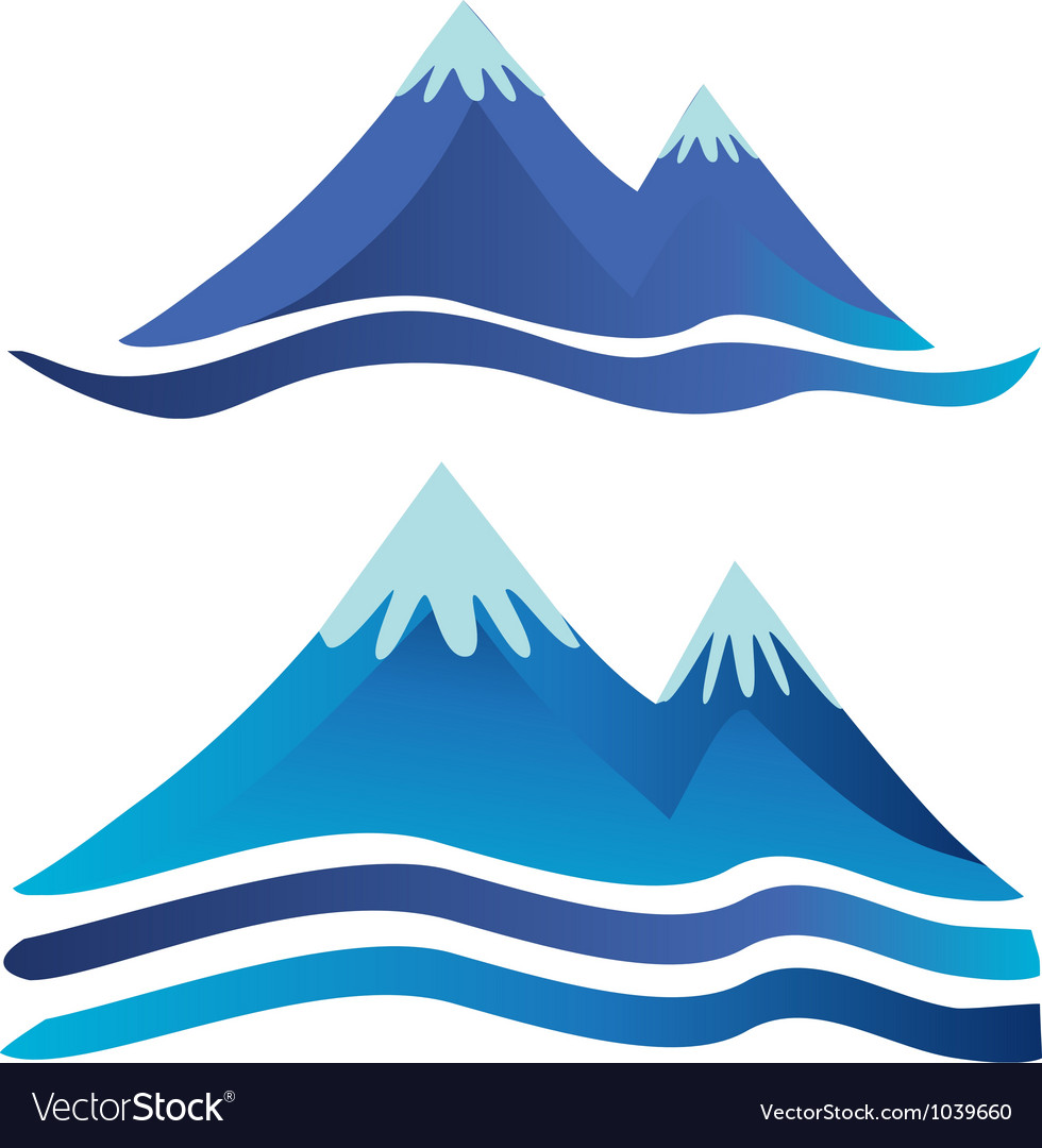 Blue mountains logos vector