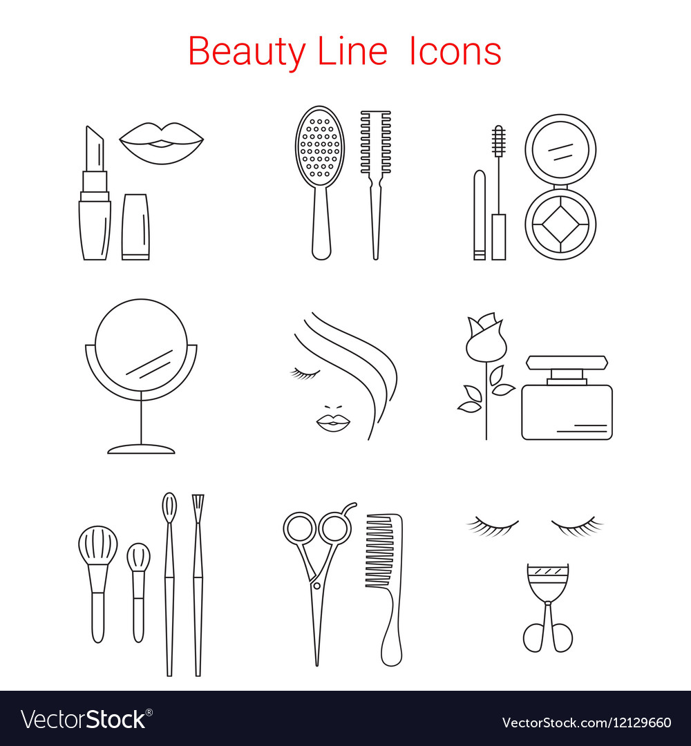 Makeup cosmetic and beauty line icons vector