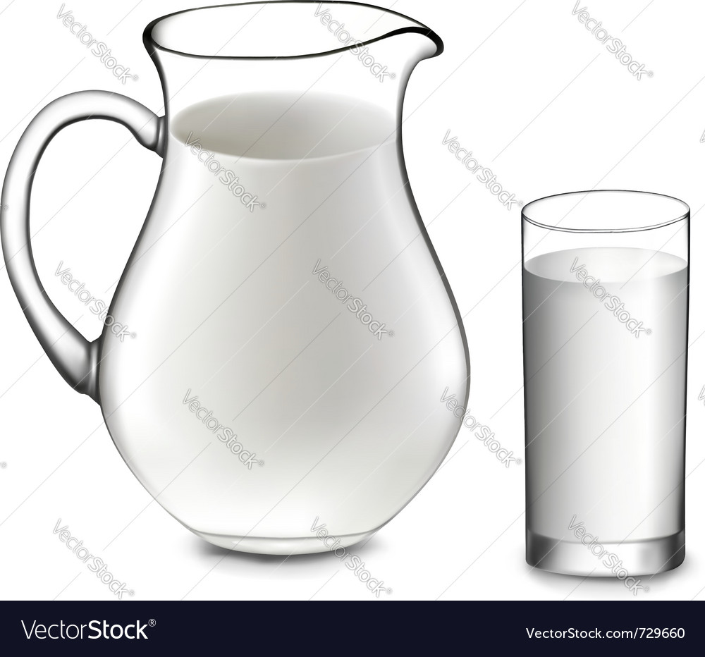 Milk jug and glass of milk vector