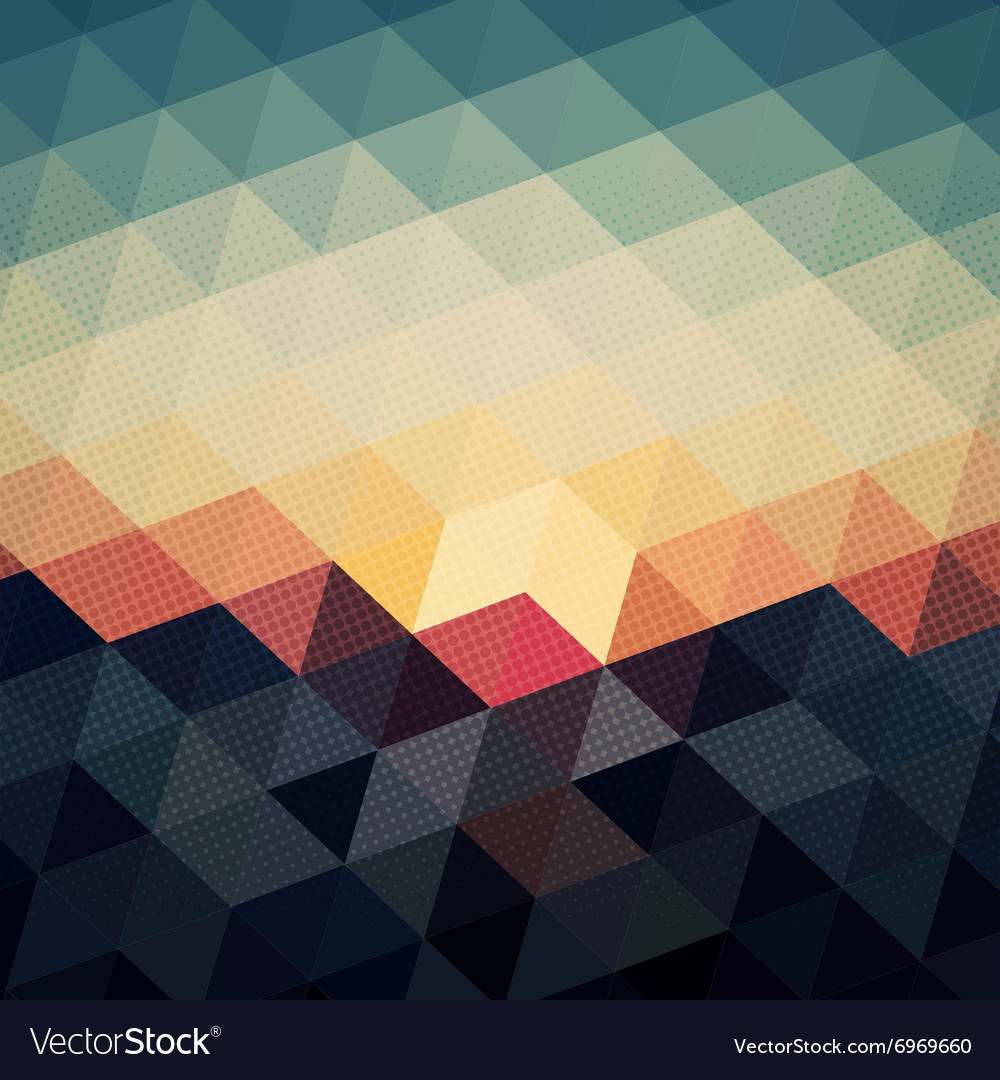 Night sky with blue triangle and dot pattern backg vector
