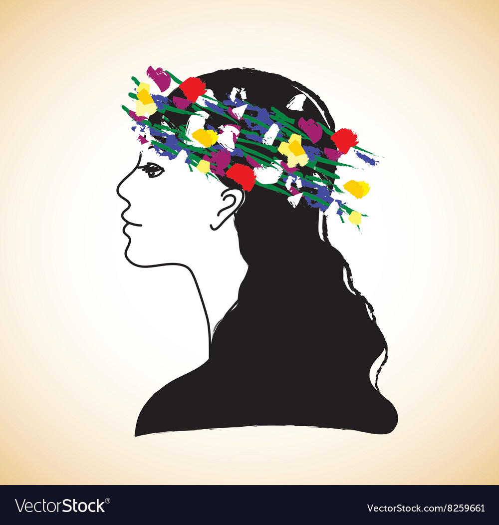 Young pretty woman profile and flowers vector