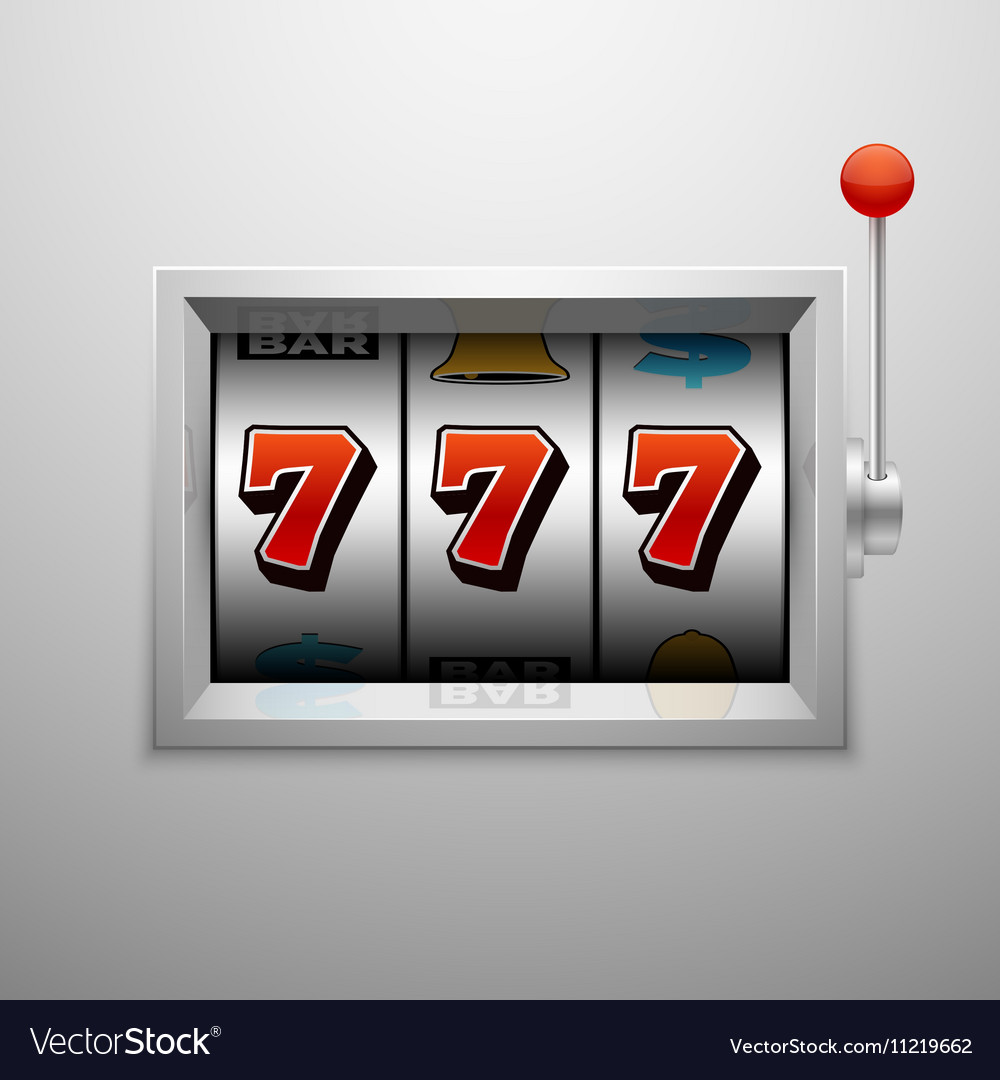 Slot machine with lucky seven casino vector